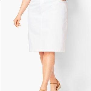 Talbots white classic denim pencil skirt 8P